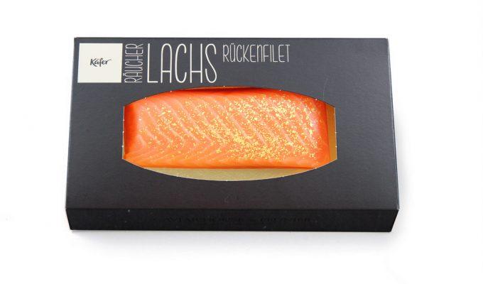 Räucherlachs Filet mit Blattgold bei Käfer erhältlich